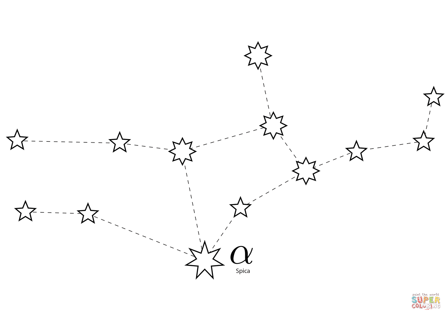 Virgo Constellation Coloring Page