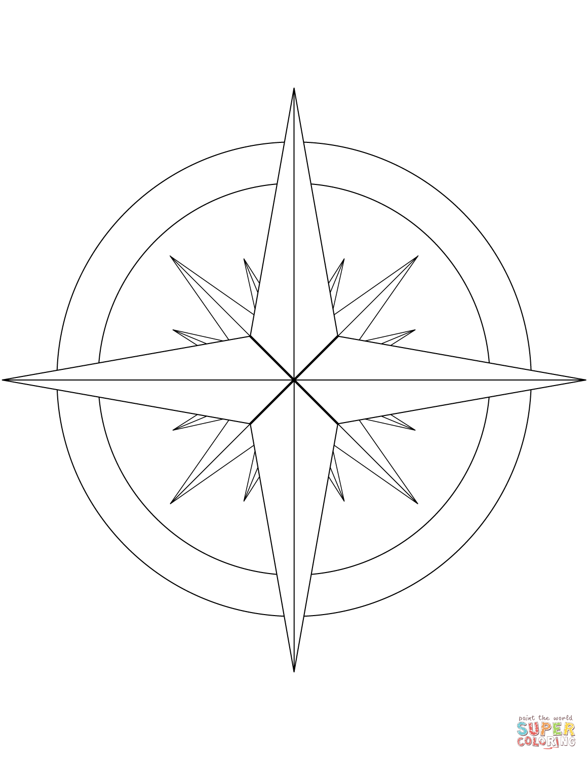 16 Point Compass Rose Coloring Page