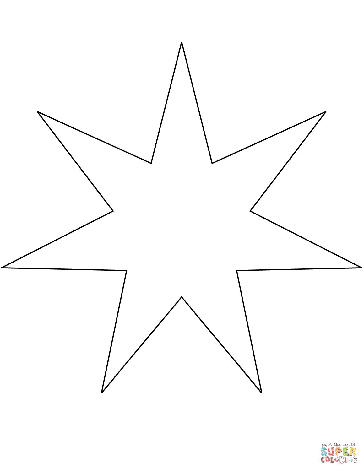 7 Points Star Coloring Page