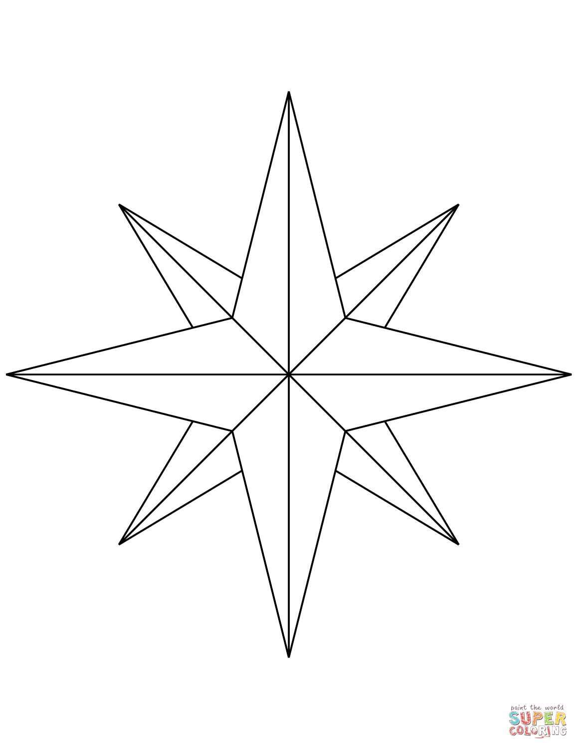 8 Point Compass Rose Coloring Page