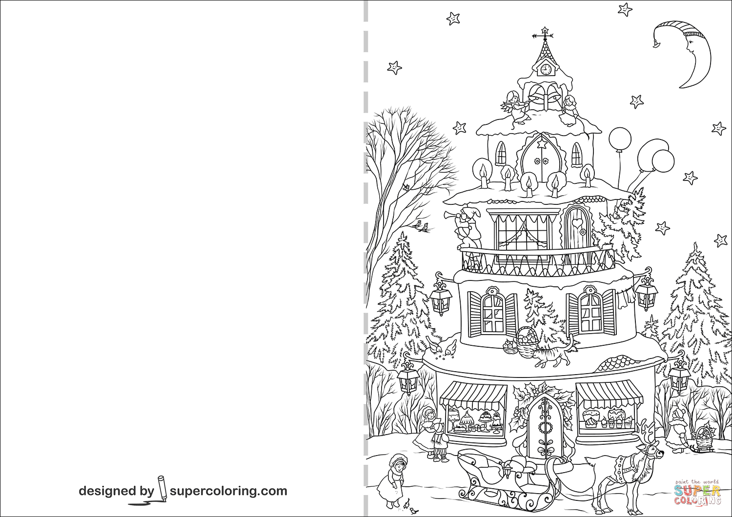 Christmas House Greeting Card Coloring Page Free Printable