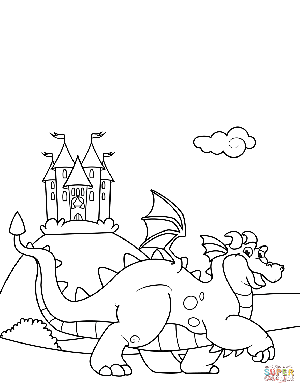 Cute Dragon In Front Of A Castle Coloring Page