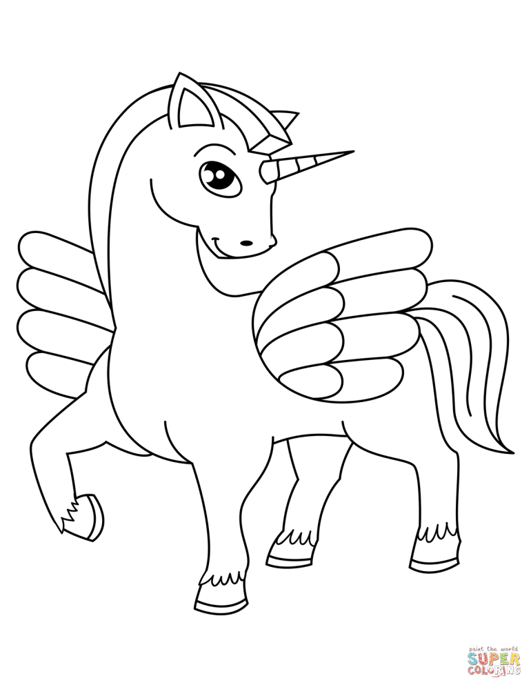 Cute Winged Unicorn coloring page | Free Printable ... | coloring pages printable unicorn