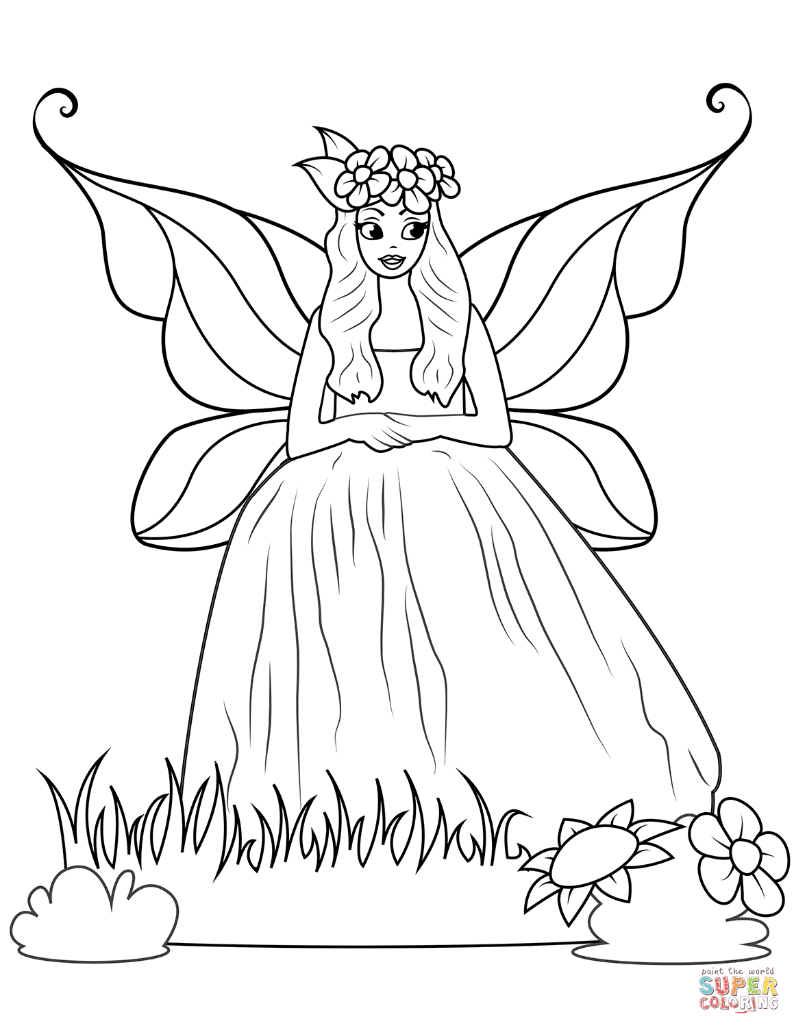 Fairy In Ball Gown Dress Coloring Page Free Printable