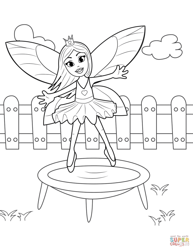 Fairy Jumping on Trampoline coloring page  Free Printable