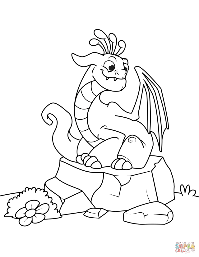 Funny Dragon Sitting on Stone coloring page  Free Printable