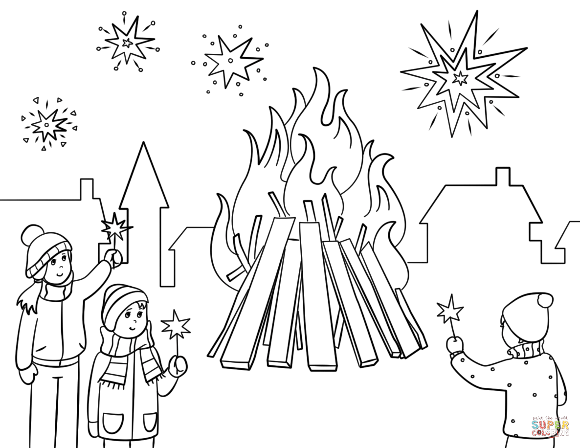 Guy Fawkes Night Coloring Page