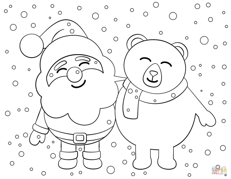 Santa And Bear Coloring Page
