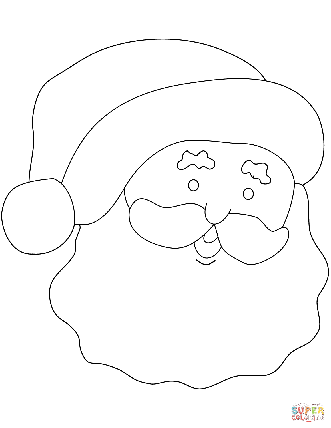 Santa Claus Simple Portrait Coloring Page