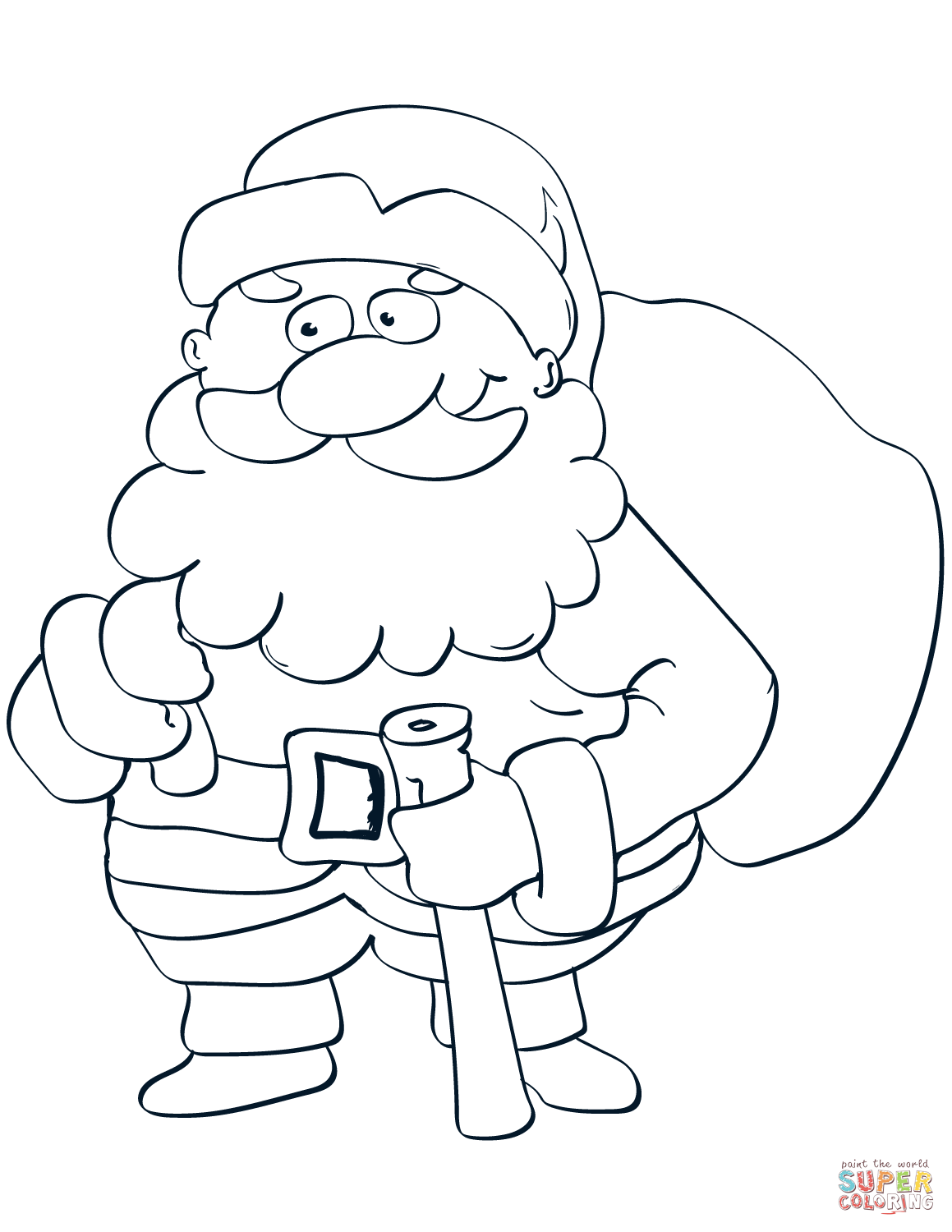 Santa Claus With Bag And Stick Coloring Page