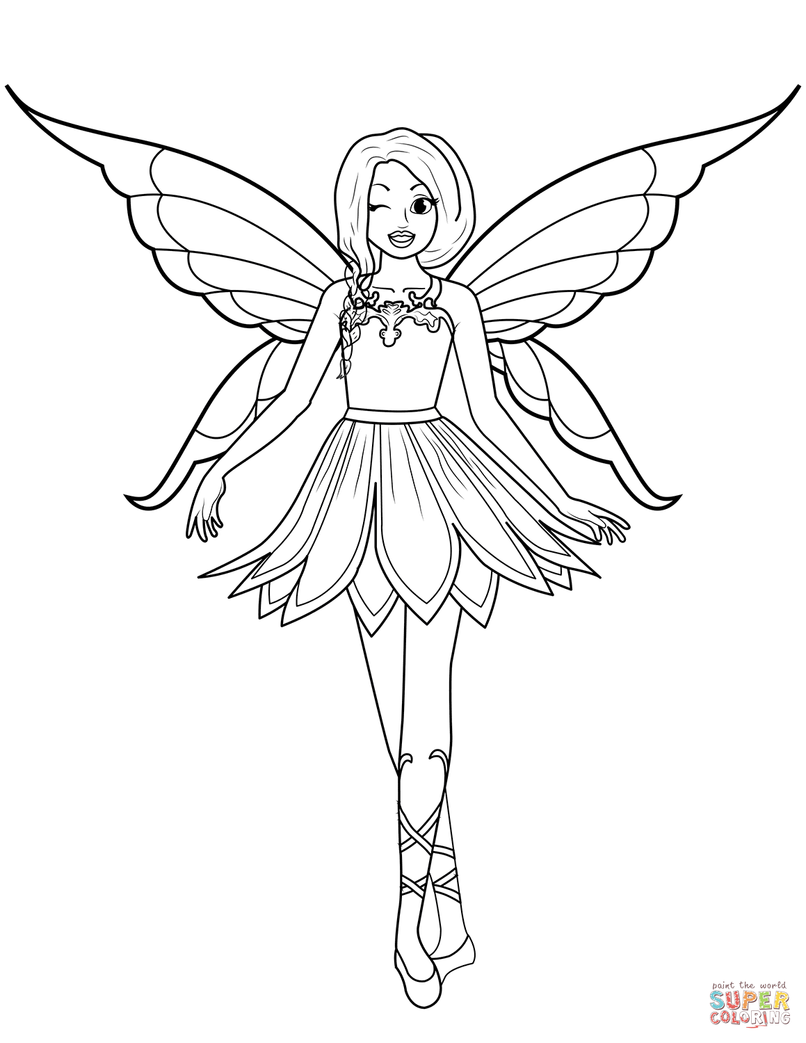 Free Coloring Pages Download Winking Fairy Page Printable Of