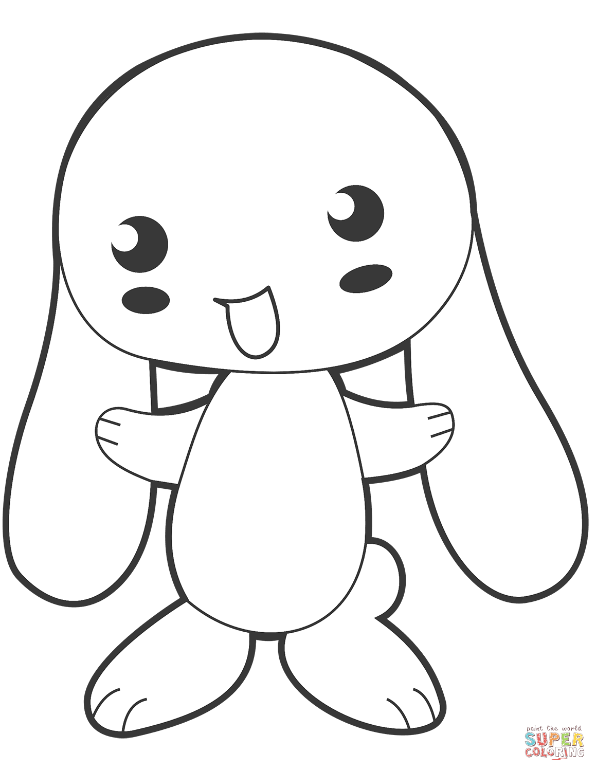 Cute Anime Bunny Coloring Page
