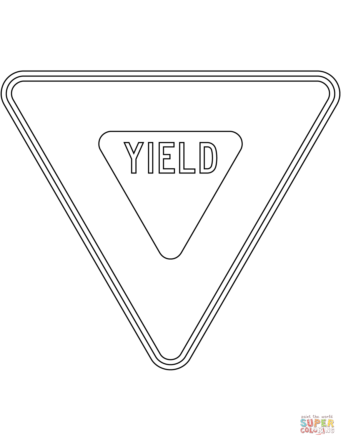 Yield Sign In The Usa Coloring Page