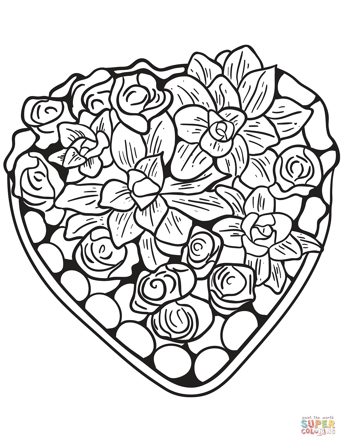 Free Coloring Pages Download Heart Made Of Flowers Page Printable