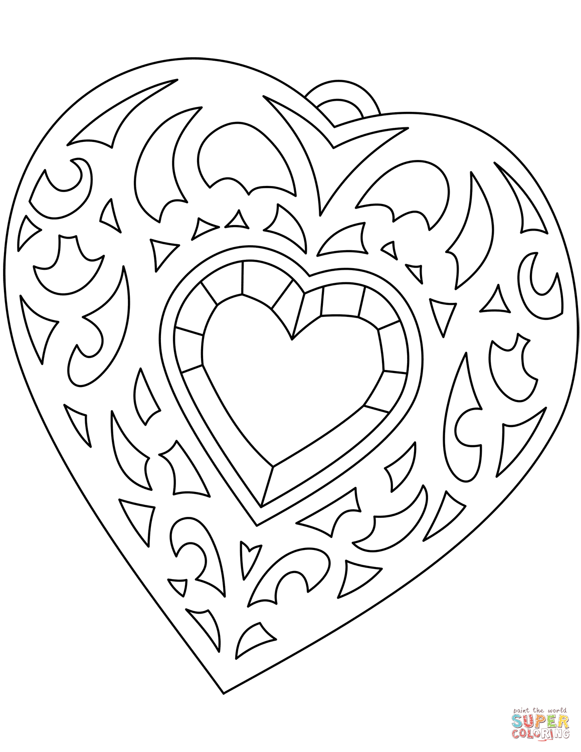 Heart Shaped Medallion Coloring Page