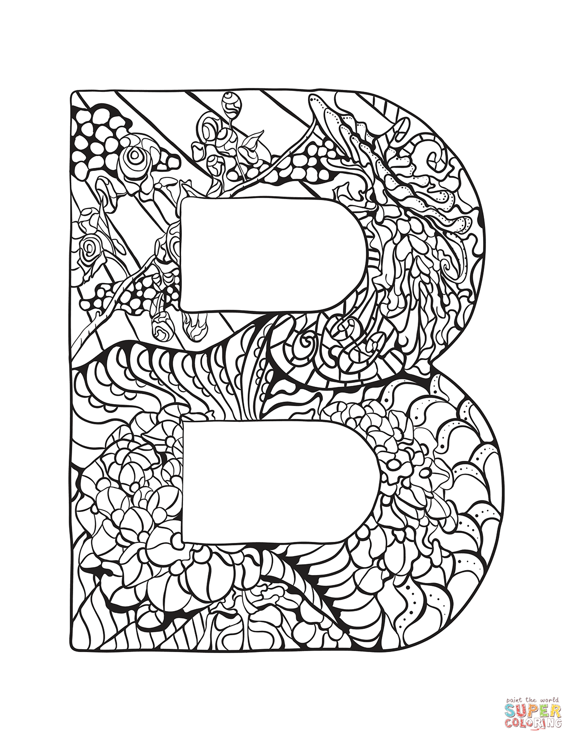 Letter B Zentangle Coloring Page