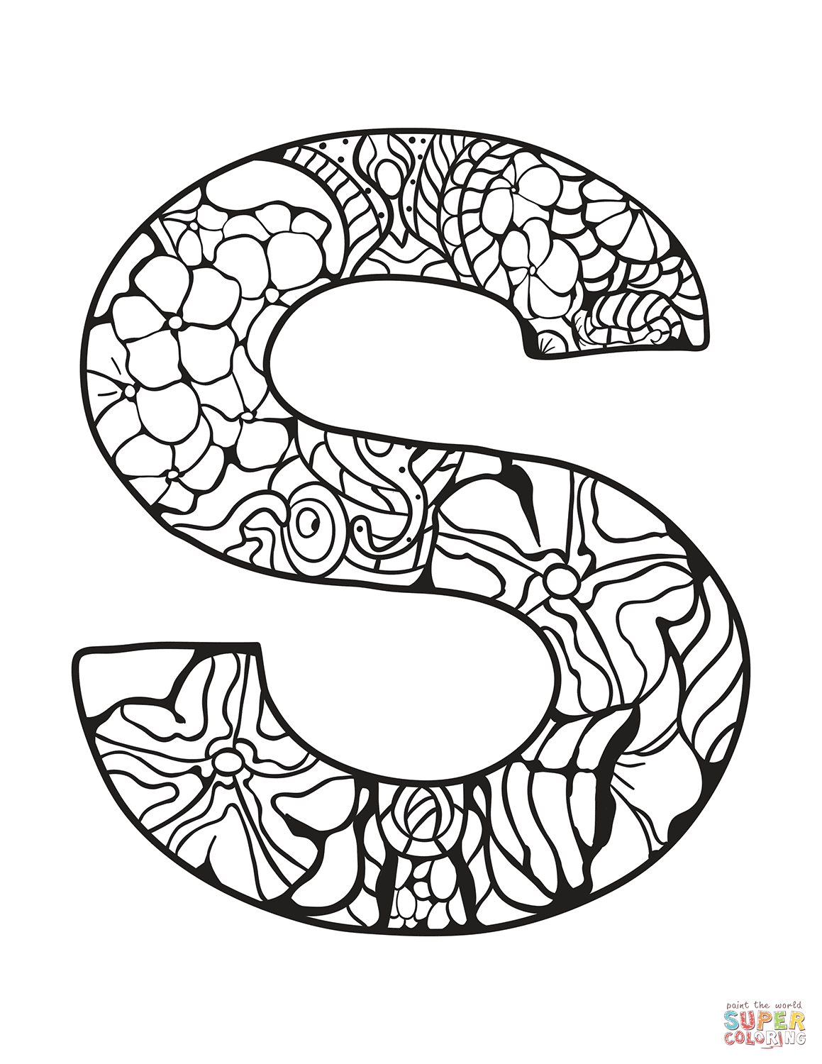 Letter S Zentangle Coloring Page