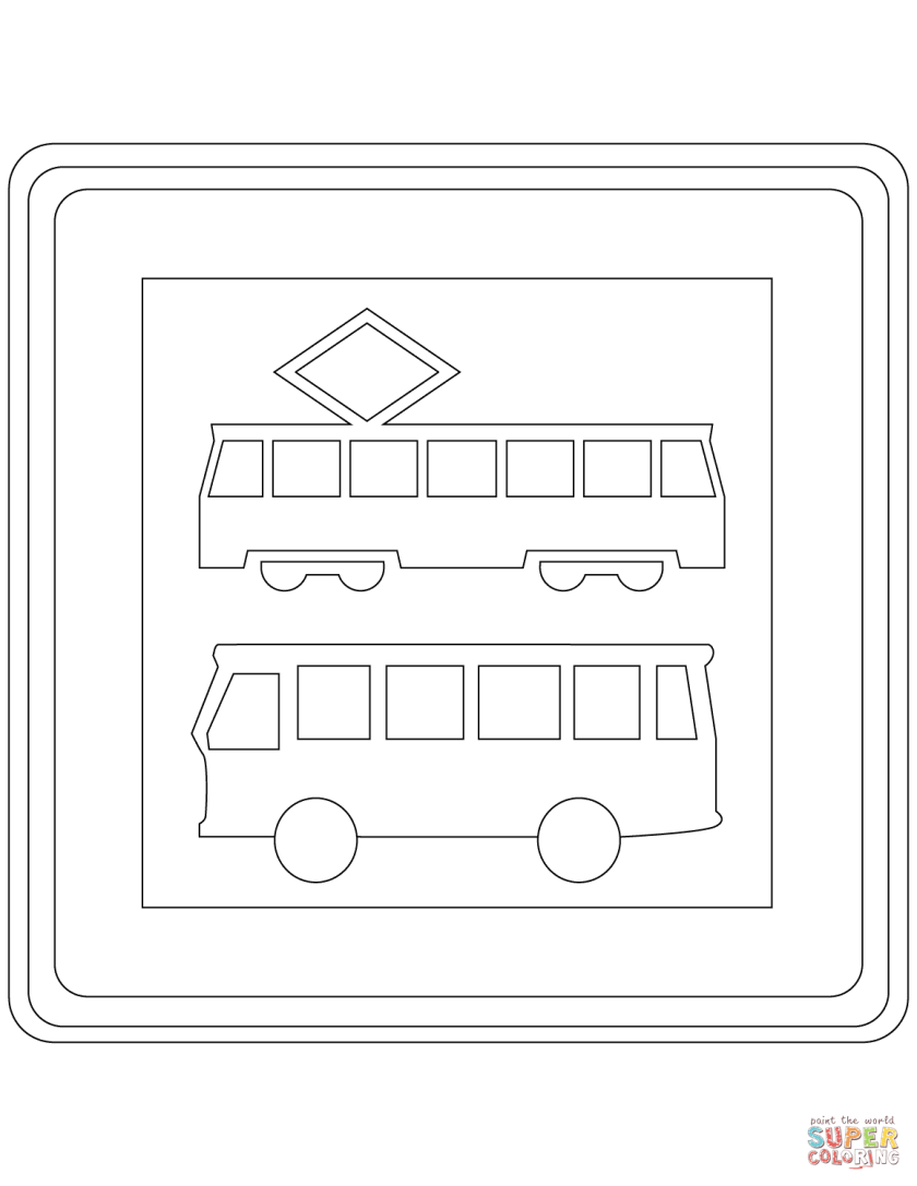 """""""tram and bus stop"""" sign in the netherlands coloring page"""