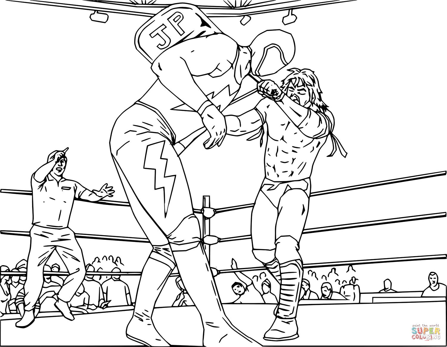 Wwe Wrestling Fight Coloring Page