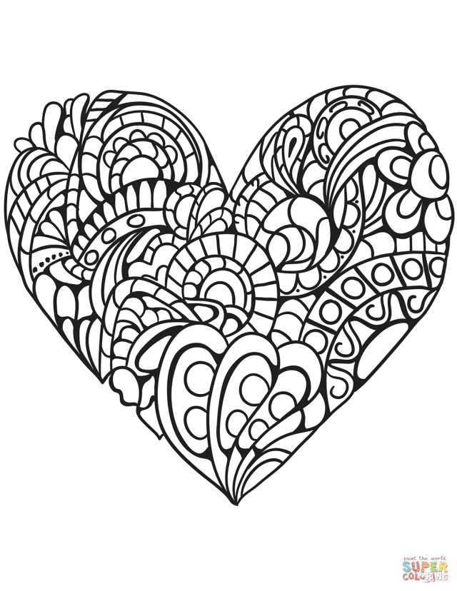 Zentangle Heart coloring page  Free Printable Coloring Pages