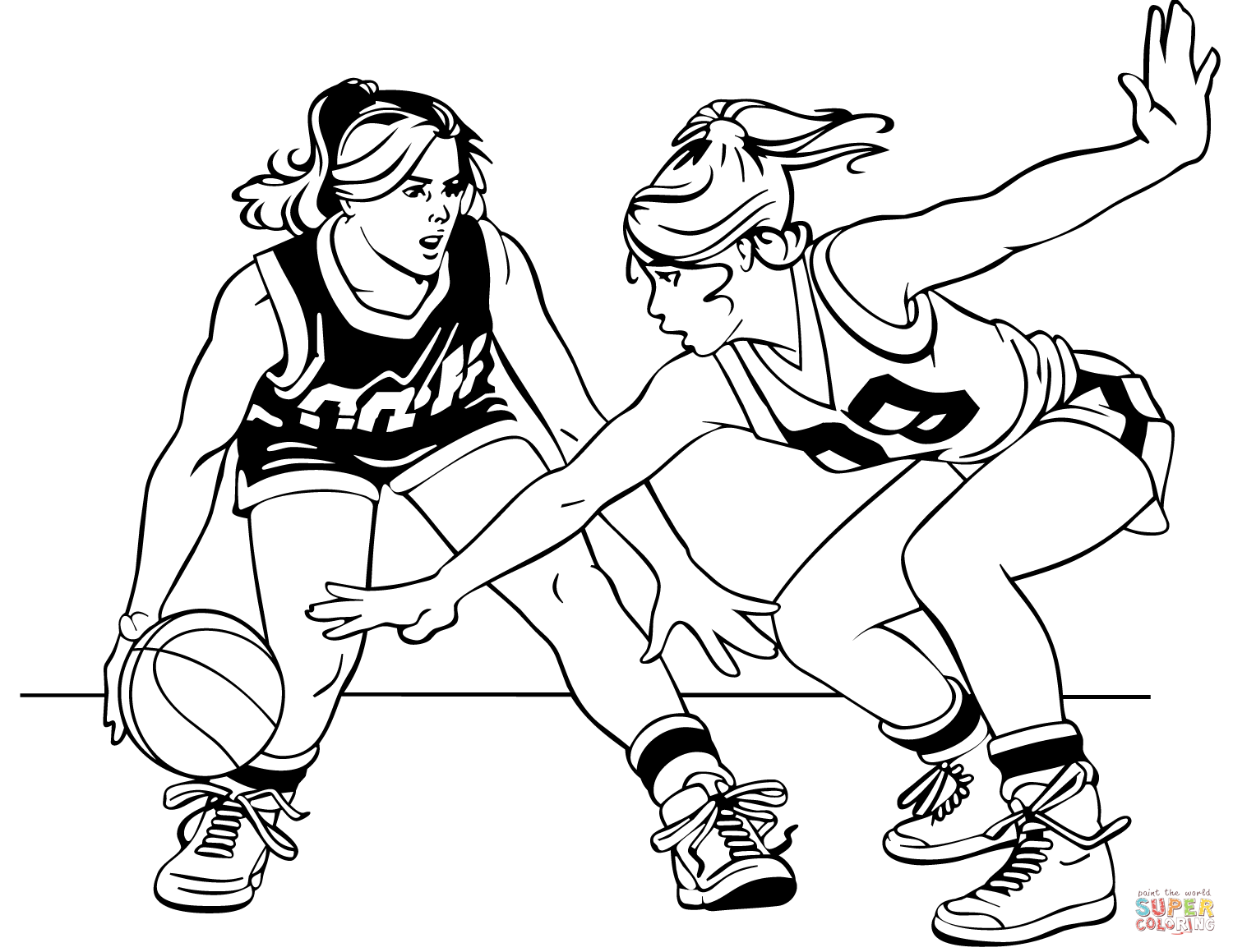 Basketball Girls Coloring Page