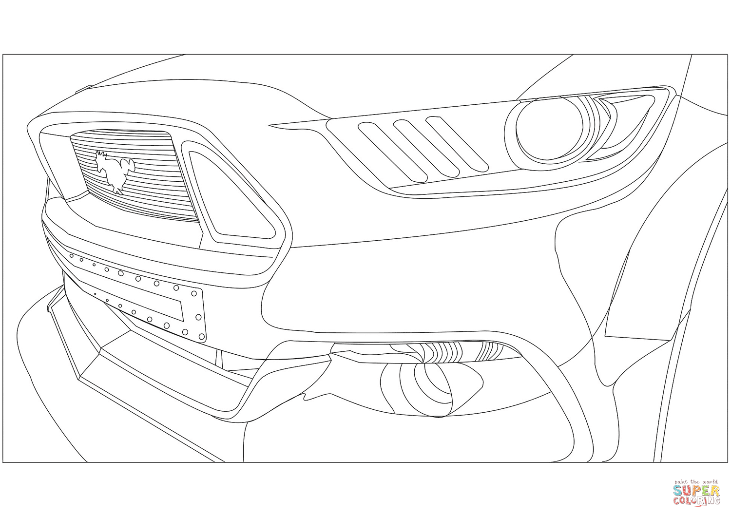 Ford Mustang Front Veiw Coloring Page