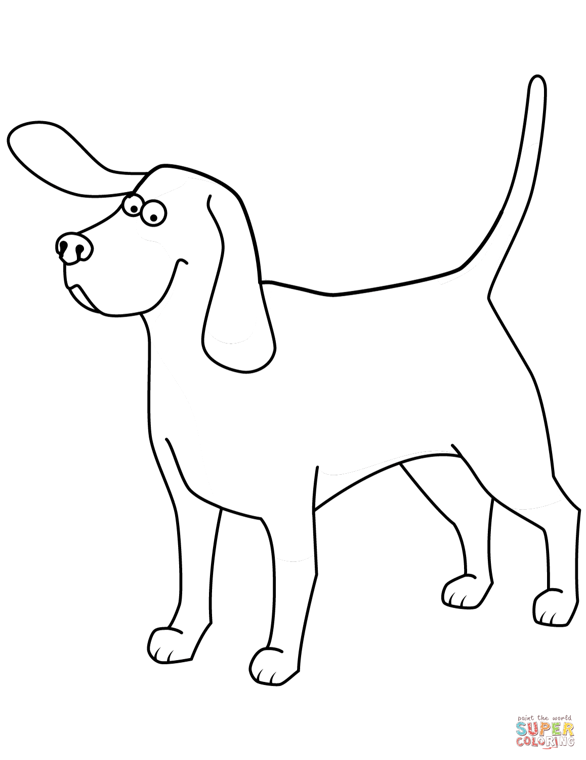 Funny Beagle Coloring Page