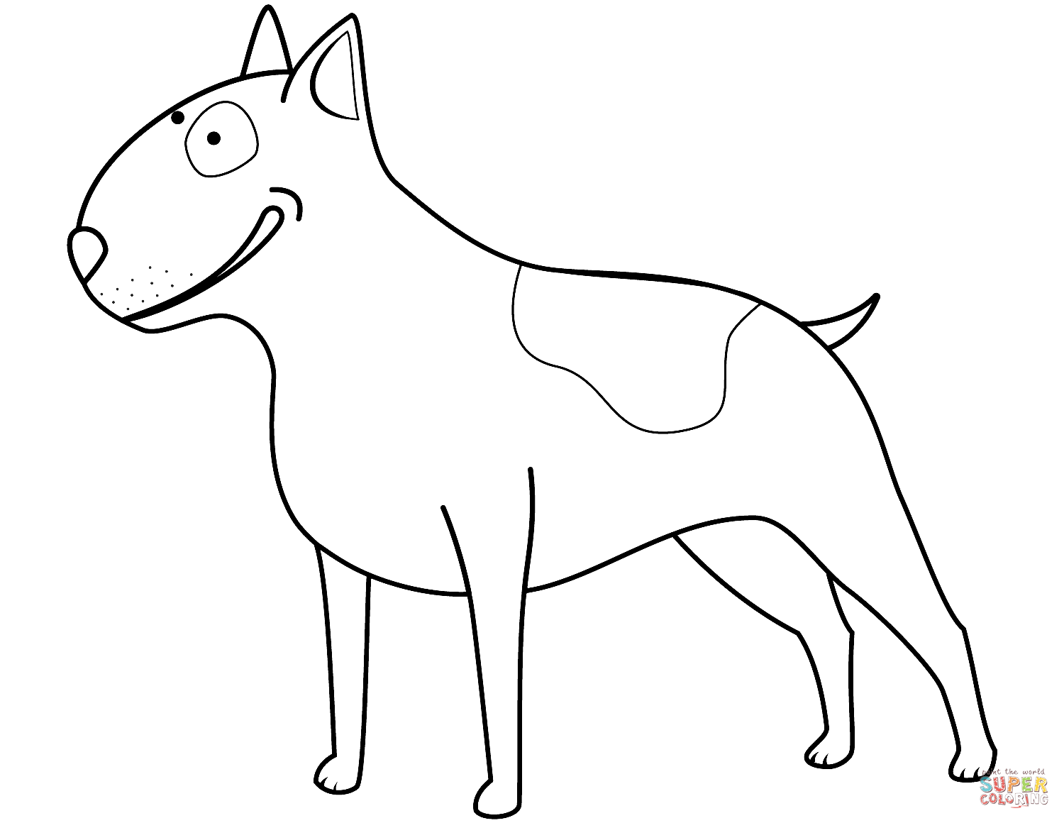 Funny Bull Terrier Coloring Page