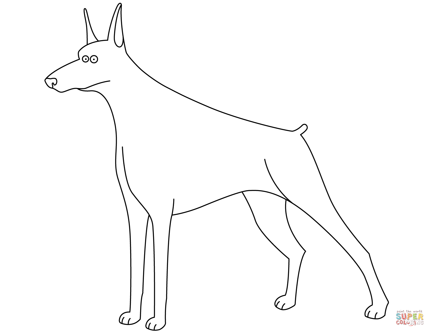 Funny Doberman Coloring Page