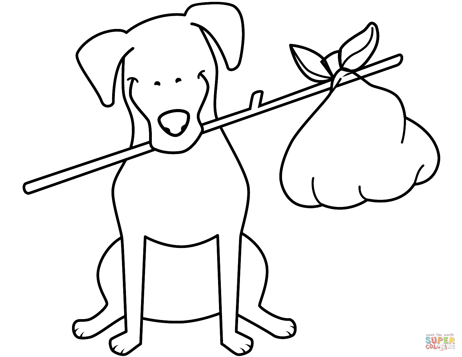 Funny Jack Russell Terrier With Bundle Coloring Page