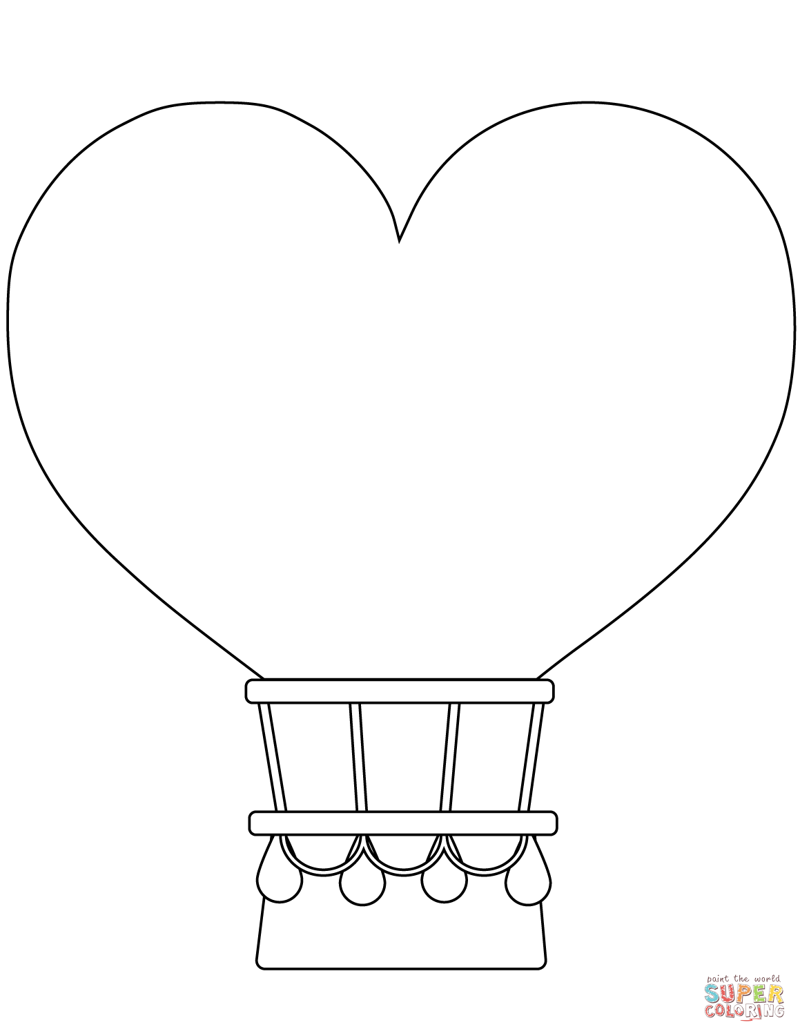 Heart Shaped Hot Air Balloon Coloring Page