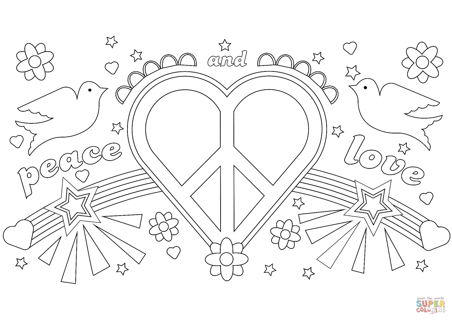 Peace And Love Coloring Page Free Printable Coloring Pages