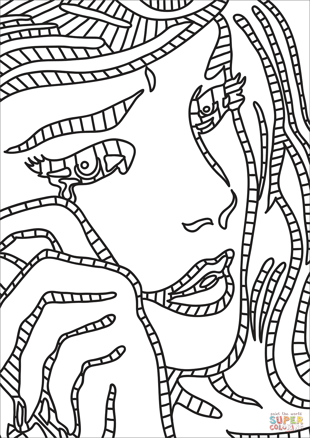 Roy Lichtensteins Crying Girl Coloring Page Free