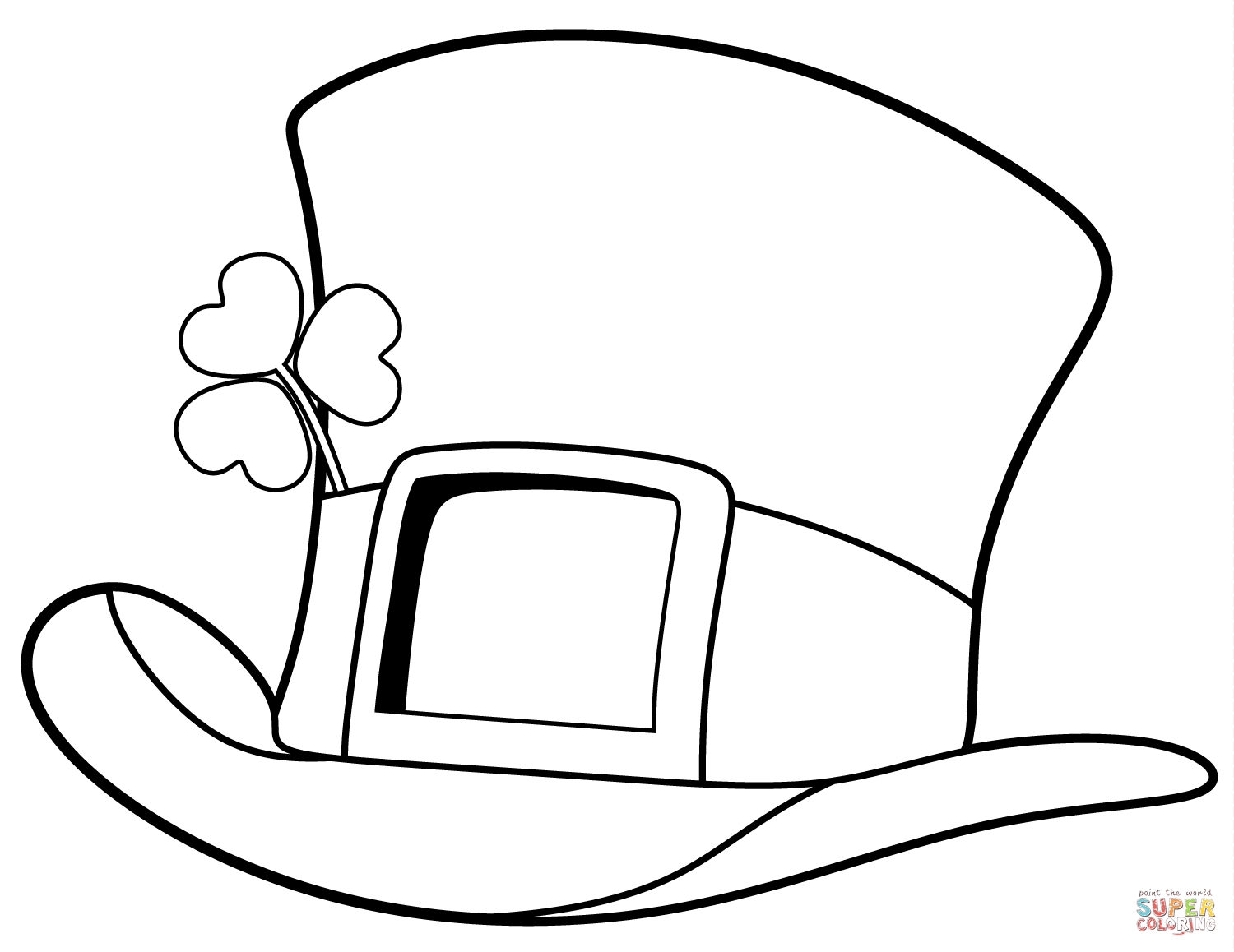 St Patrick Day Top Hat Coloring Page