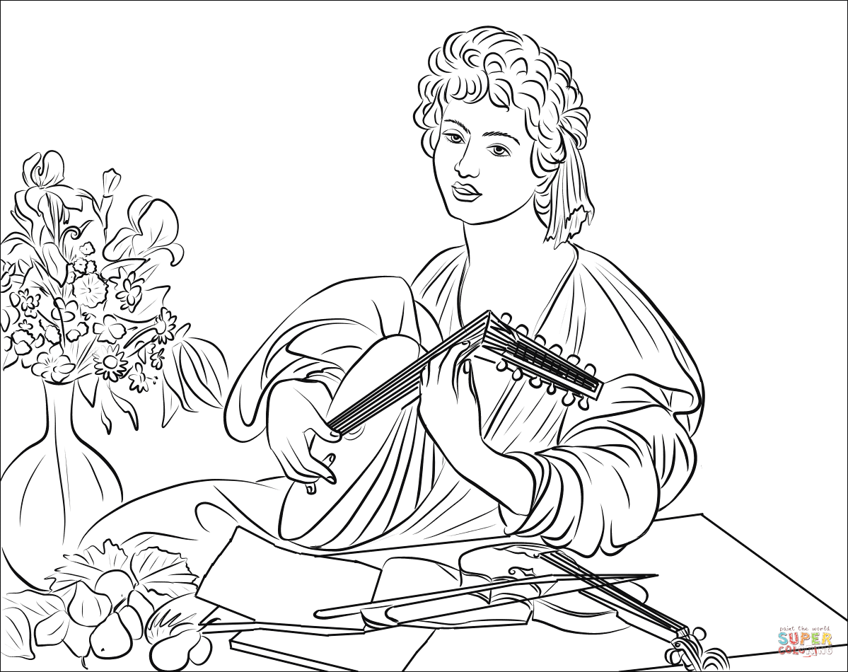 The Lute Player By Caravaggio Coloring Page Free
