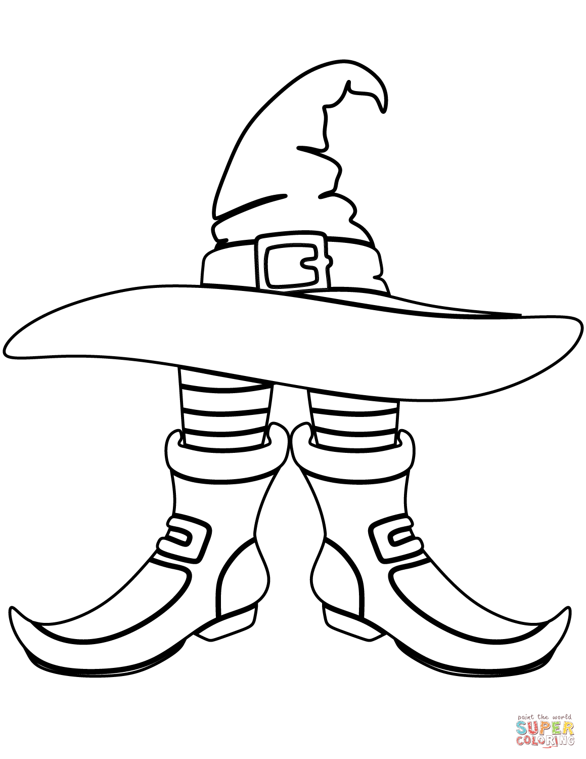 Witch Hat And Boots Coloring Page Free Printable Coloring Pages