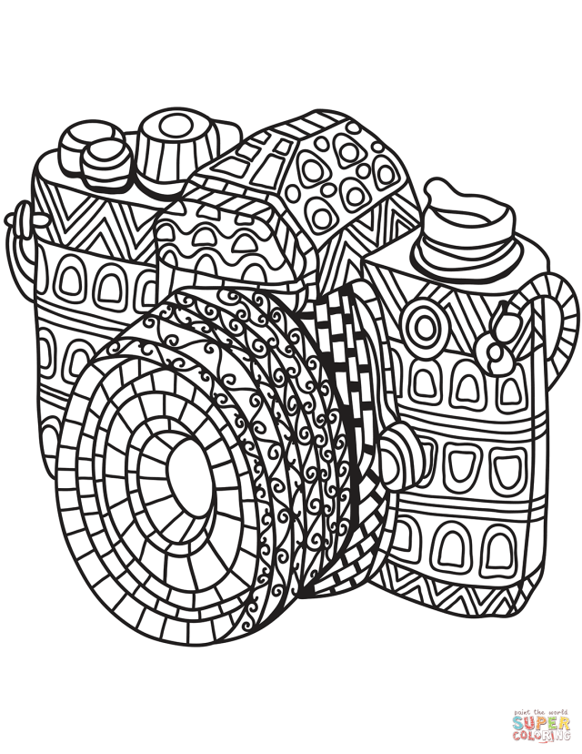 Zentangle Camera coloring page  Free Printable Coloring Pages