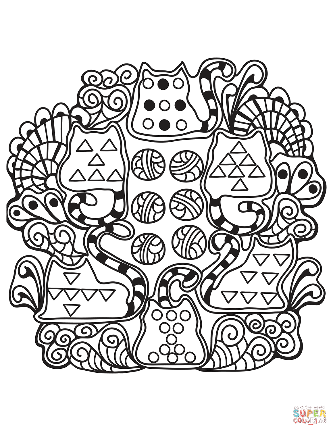 Abstract Cats Zentangle Coloring Page