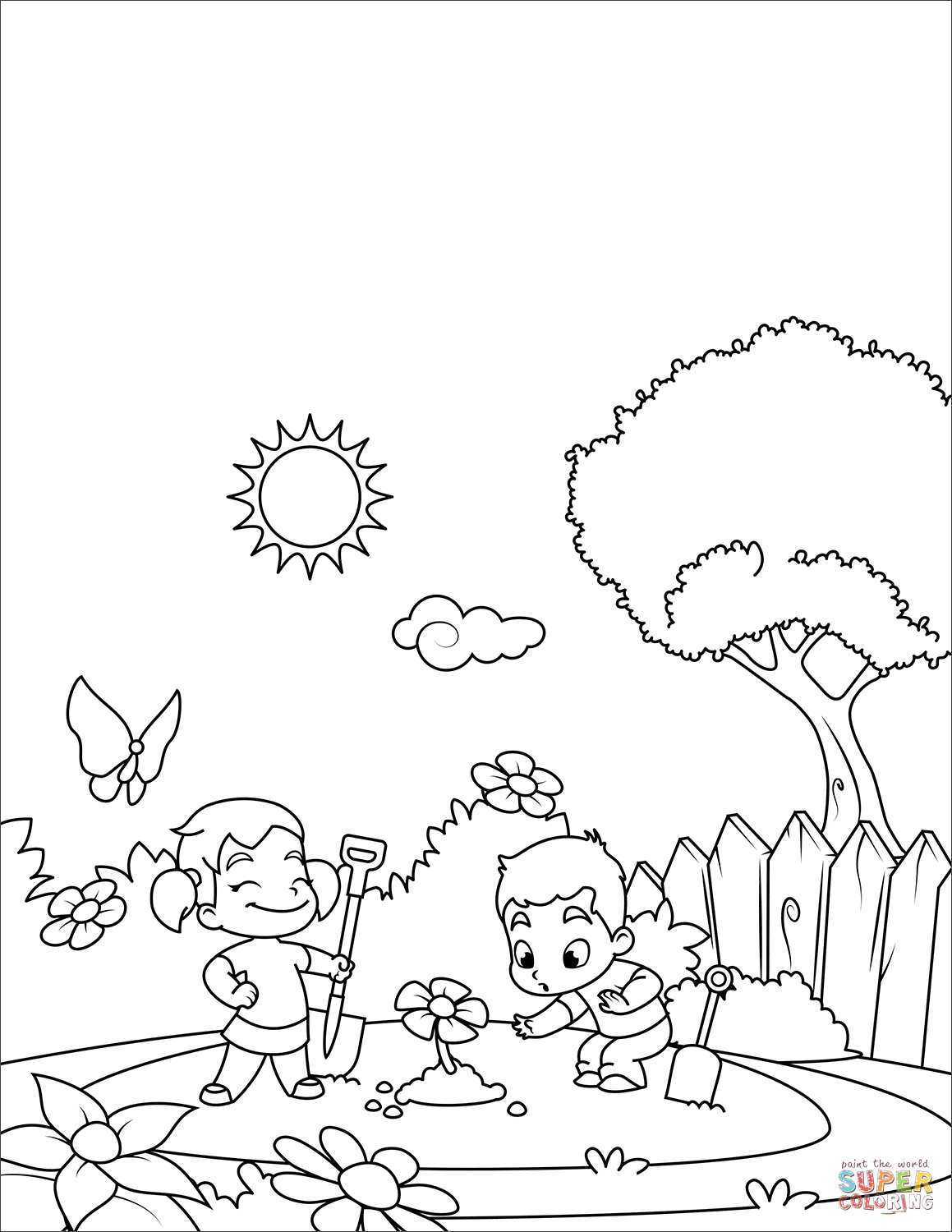 Boy And Girl Plant Flowers Coloring Page