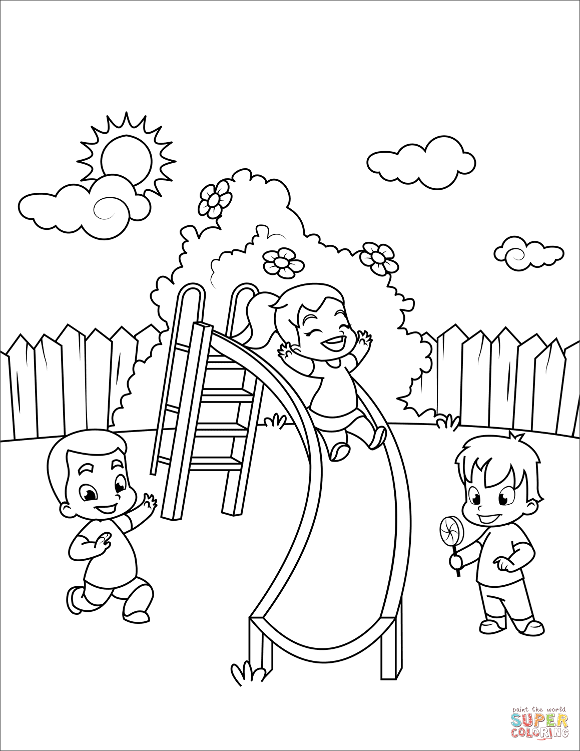 Children Go Down A Slide Coloring Page