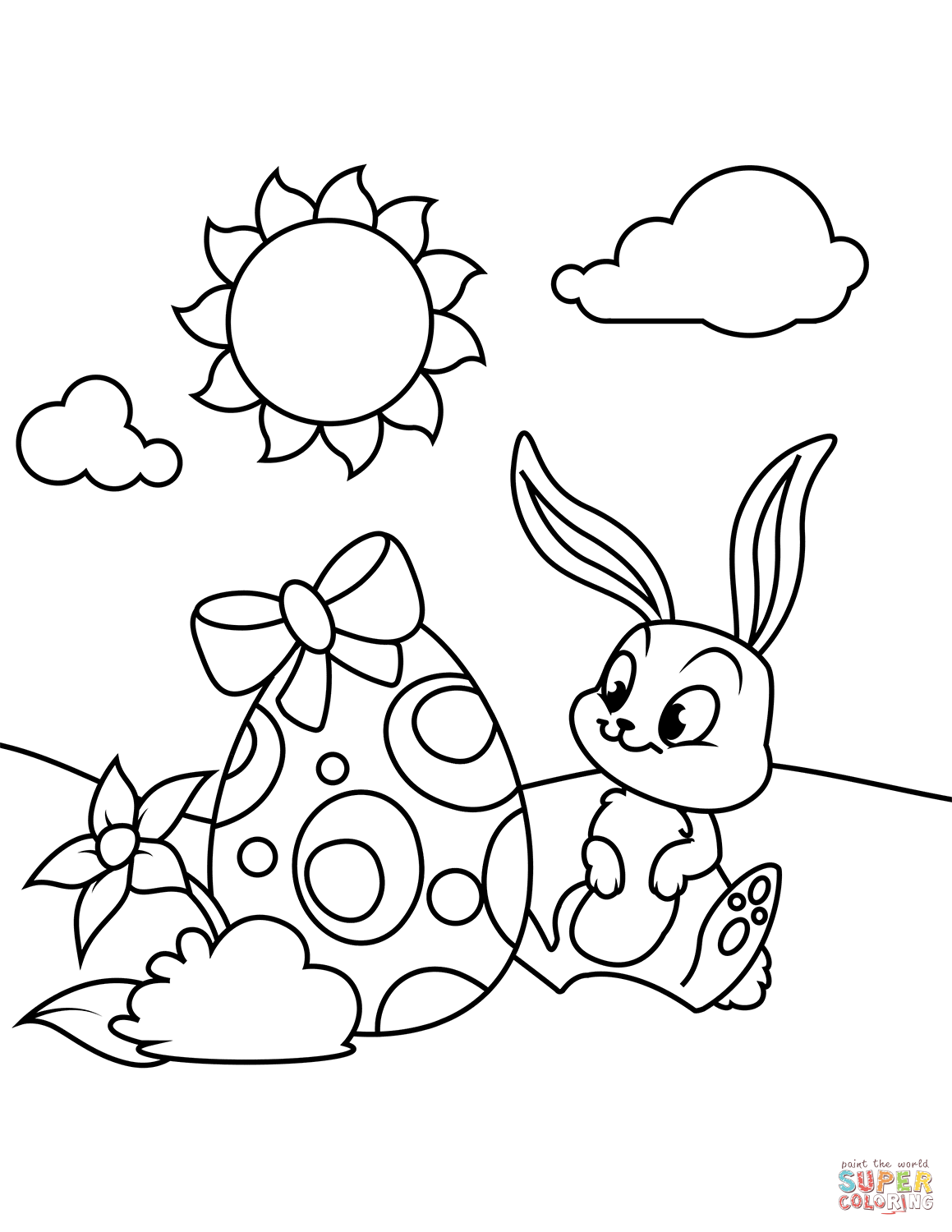 Cute Bunny And Easter Egg Coloring Page