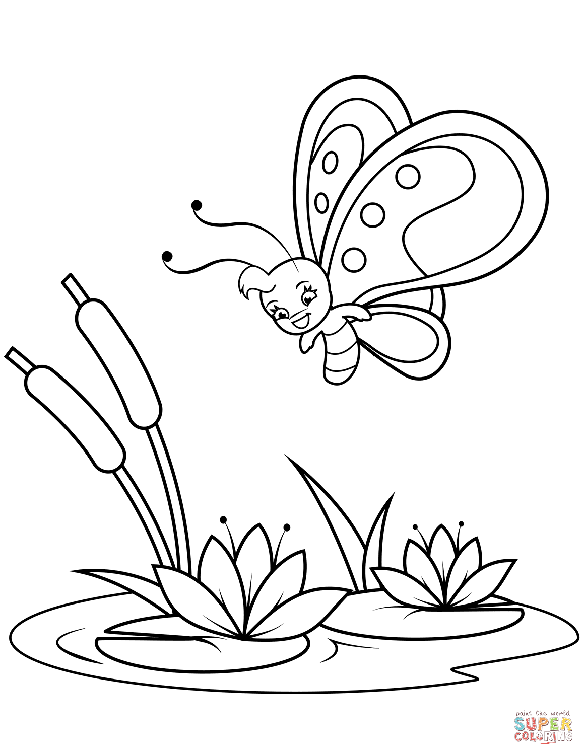 Cute Butterfly Flies Over Reeds And Water Lilies Coloring