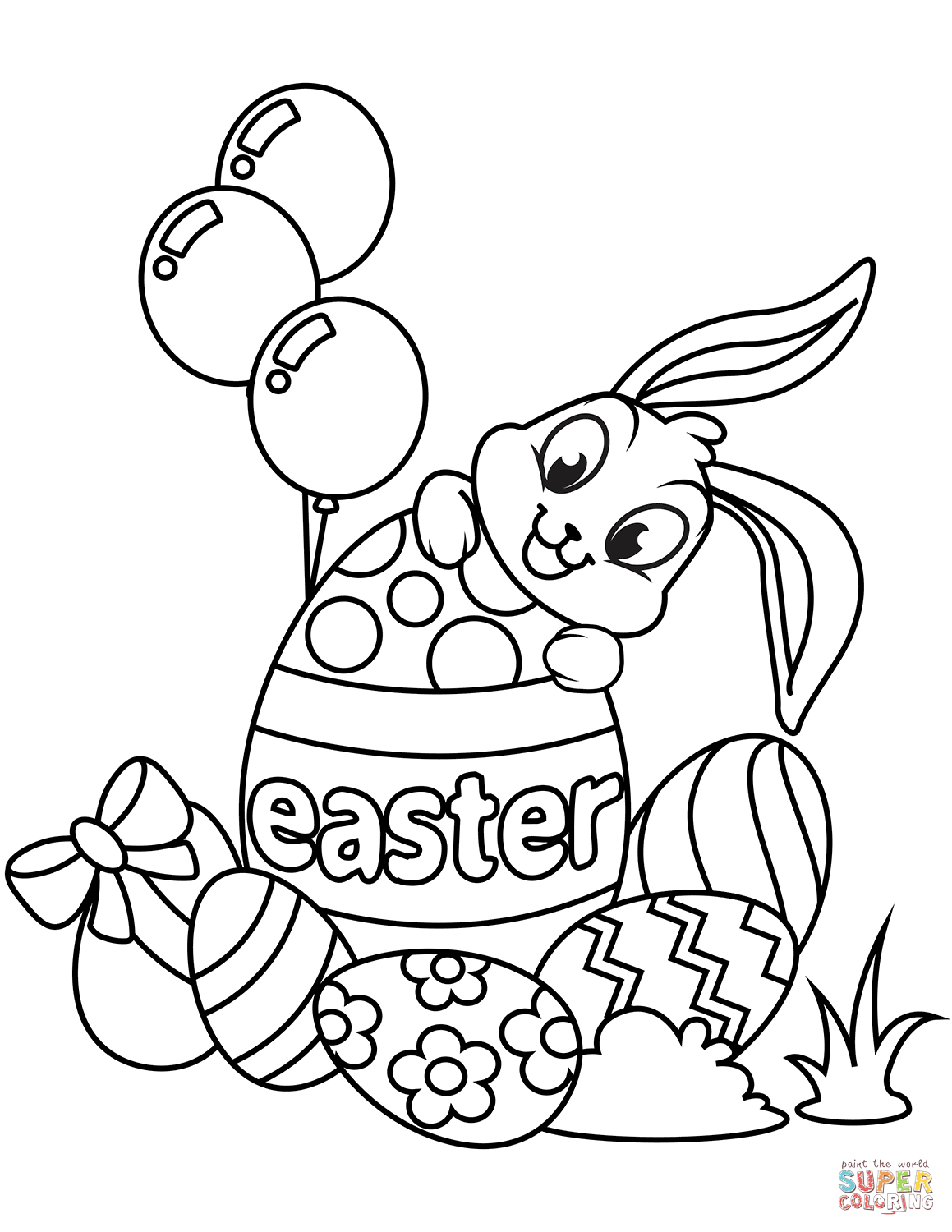 Cute Easter Bunny And Eggs Coloring Page