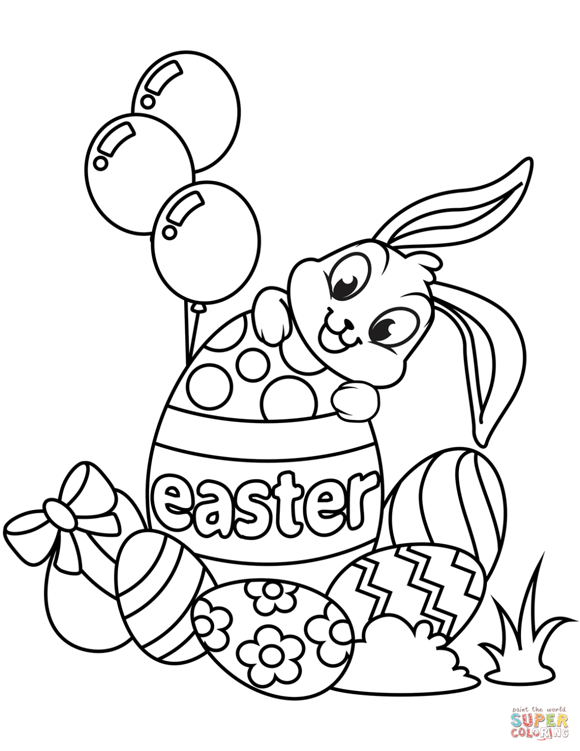 Cute Easter Bunny and Eggs coloring page | Free Printable ... | coloring sheets easter printables