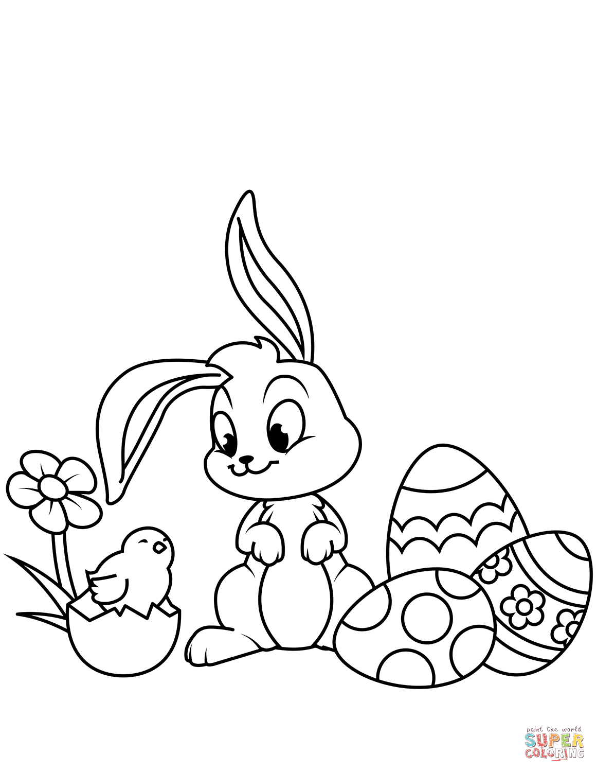 Cute Easter Chick Bunny And Eggs Coloring Page