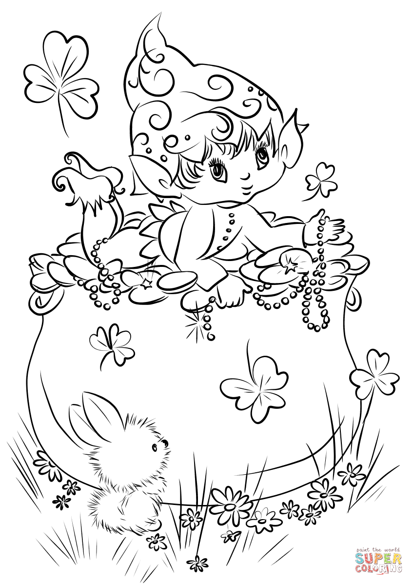 Cute Leprechaun On A Pot Of Gold Coloring Page Free Printable