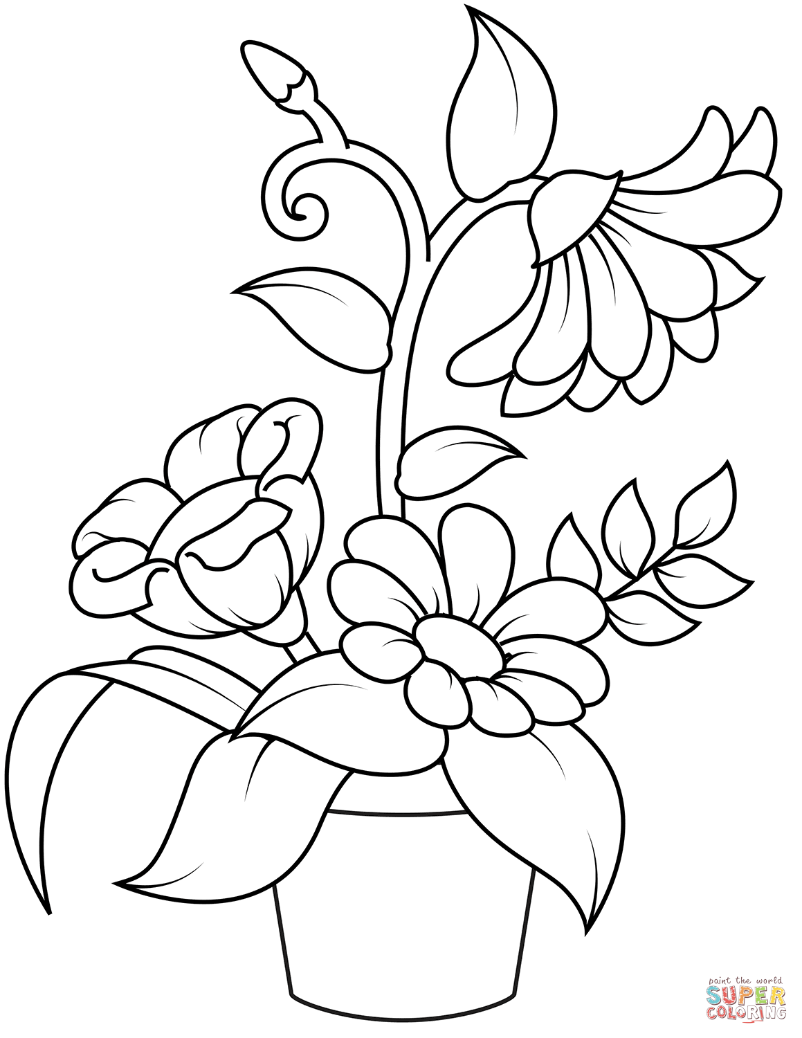 Flowerpot Coloring Page Free Printable Coloring Pages