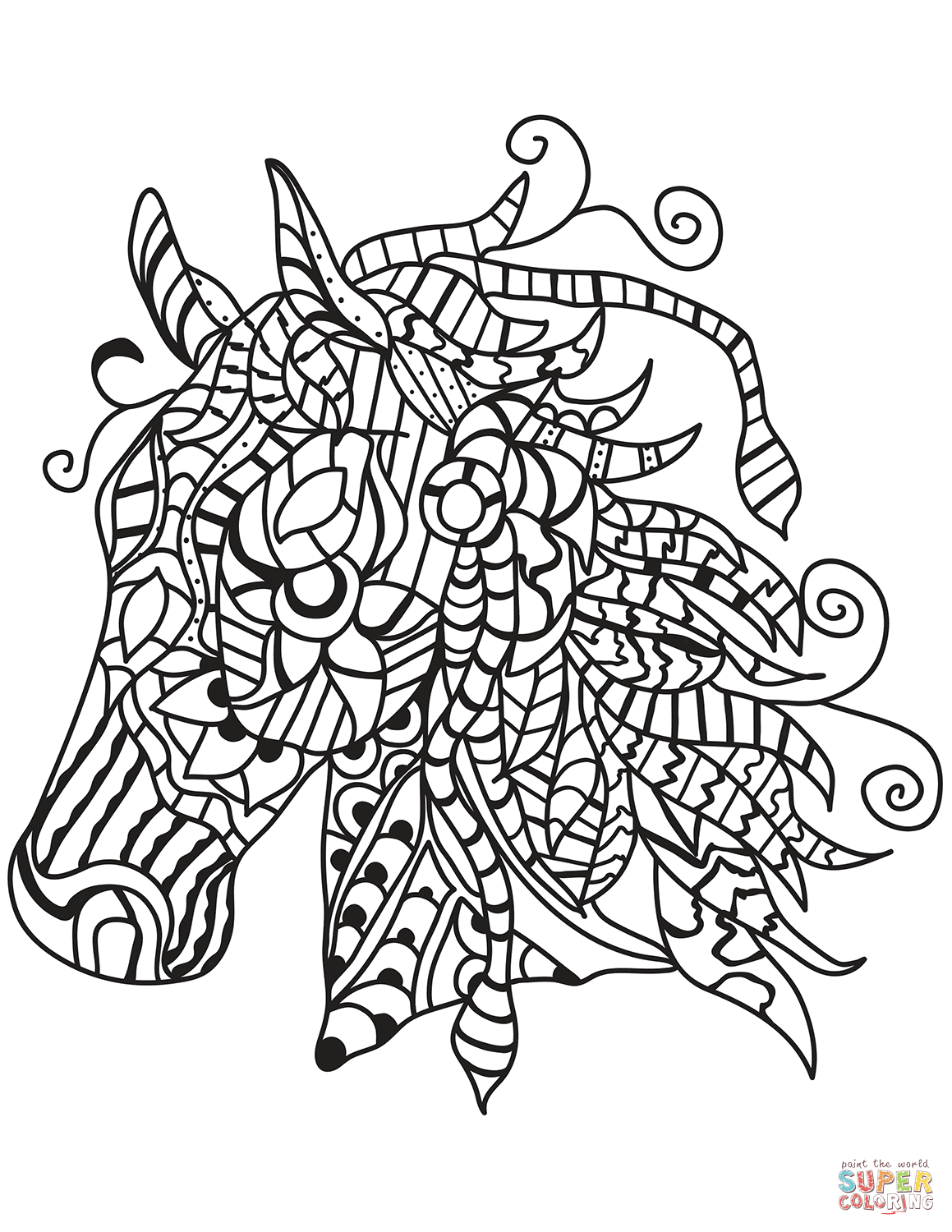 Horse Head Zentangle Coloring Page