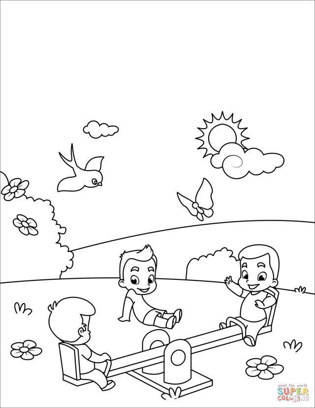 Kids Play at Seesaw coloring page  Free Printable Coloring Pages