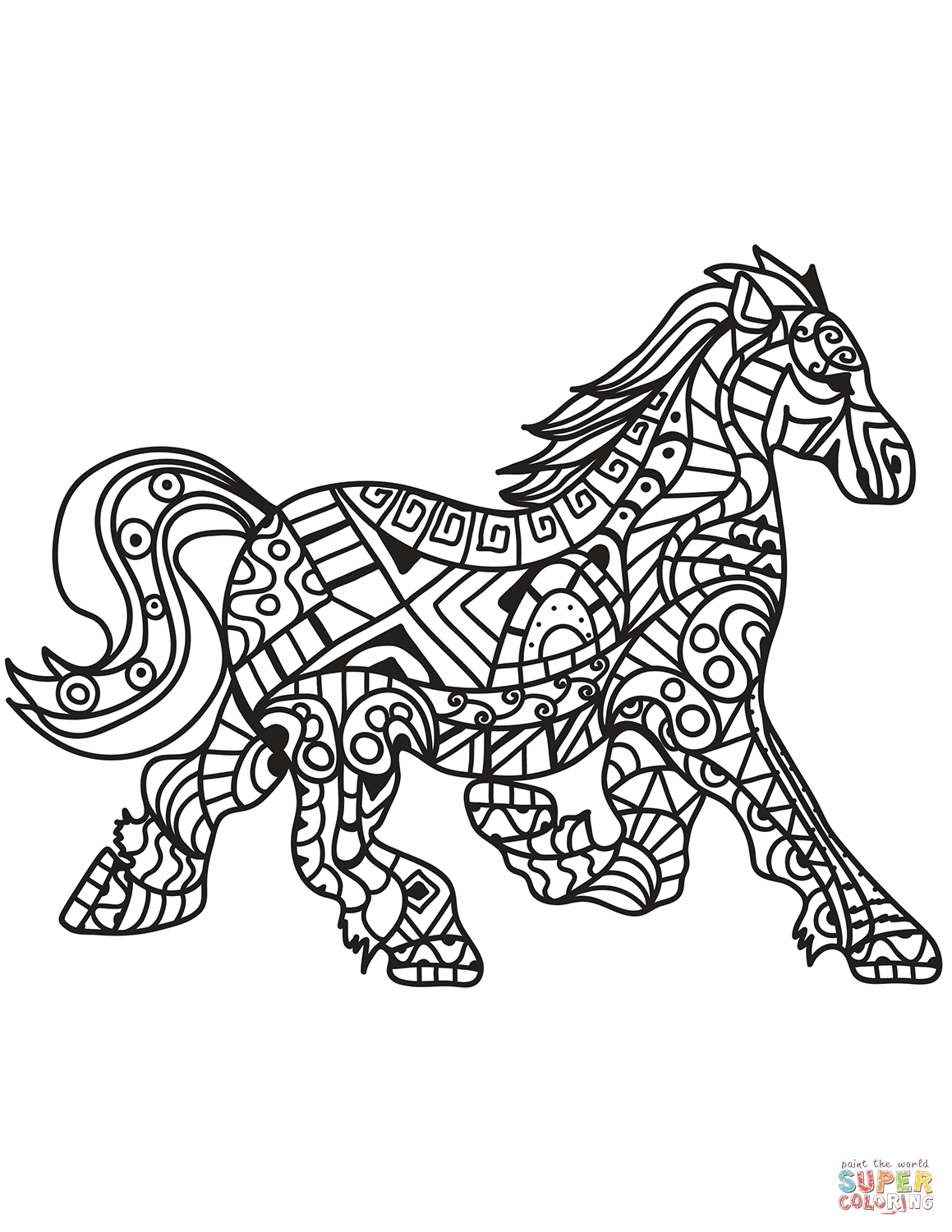 Running Horse Zentangle Coloring Page